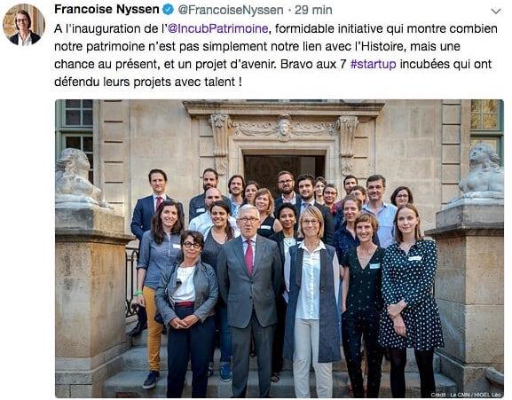 Lauréats de l'incubateur du patrimoine en présence de la Ministre de la Culture, Françoise Nyssen
